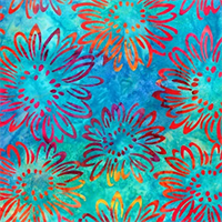 Robert Kaufman 17767-70 Bright Blooms Aqua