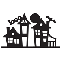 Applique Elementz CUE-1008 Haunted House Silhouet