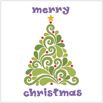 Applique Elementz Merry Christmas Evergreen Batik